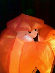 This is so cute! The ghost pops out of the pumpkin...