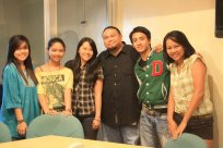 Radio visit! L-R: Kim, Crissy, Thea, Sir Dennis (?), Paj, Avi