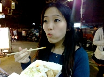 Trying stinky tofu for the first time